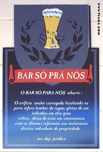 Advertência num bar